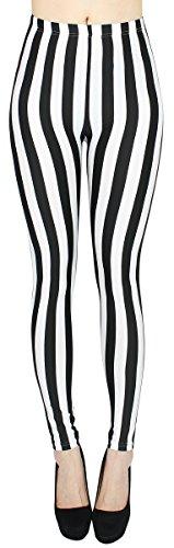 dy_mode High Waist Damen Leggings Schwarz Weiß gestreift Streifen Hose Damen Röhren Skinny - One Size - JL058