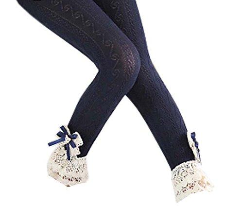 Black Temptation Trendy Mesh Cotton Lace Mädchen Strümpfe Mode Leggings Hosen für Frühjahr/Herbst, 01