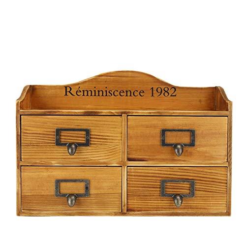 Caja de almacenamiento de escritorio de madera de capa de cajón vintage de madera de pino importada Joyero antiguo(5044-01-(four draws)-baked color, blue)