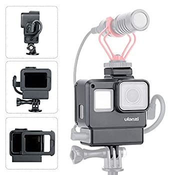 Vlogging Protective Case for GoPro Hero 7/6/5 with Cold Shoe Mount Microphone Adapter Storage W Back Door Compatible with Gopro Series Frame Housing Accessories Perfect Vlog Setup Video Filmmaking