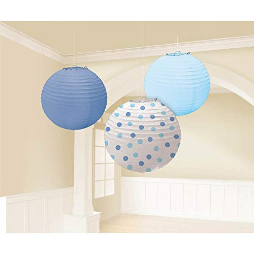 """Amscan Baby Round Party Paper Lantern, 9-1/2"""", Blue"""