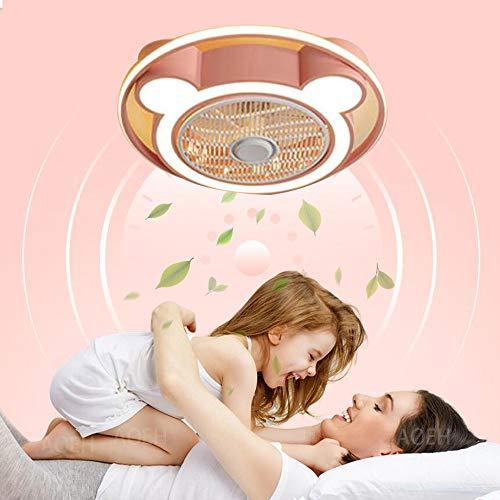 Lámpara para niños Ventilador de techo con iluminación para LED Ventilador regulable Lámpara de techo Habitación para niños Sala de estar Restaurante Dormitorio Lámpara de ventilador rosa azul