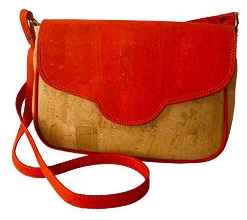 Kaibe Bolso bandolera de corcho para mujer con solapa estampada bolso grande vegano y elegante, bolso de corcho (Rojo)