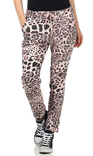 simaranda Pantalones de chándal para mujer, para el tiempo libre, holgados, estilo boyfriends Leo Pink Talla única