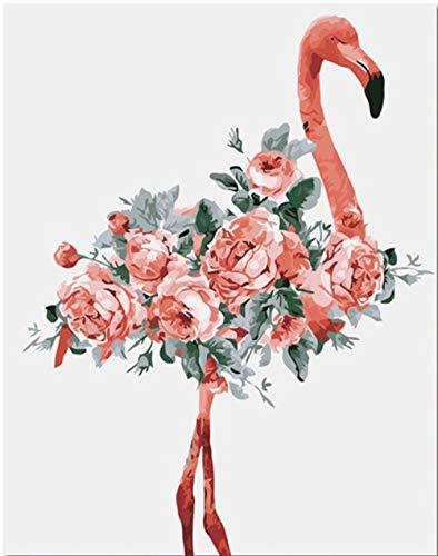 Pintar por Numeros para Adultos Niños, DIY Pintura al óleo con Pinceles y Pinturas (16 * 20 Pulgadas, Sin Marco) Decoración hogareña 40 x 50 cm - Flamenco flores