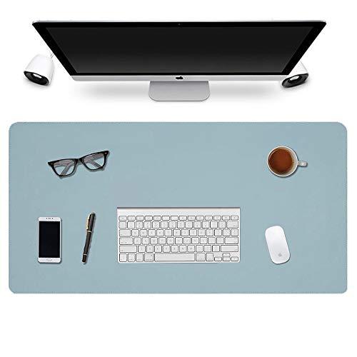 Multifunktionale Schreibtischunterlage, 2020 Nähen Desktop Schreibblock, 900 * 400 * 2mm Büro wasserdicht Anti-Rutsch-Office-Pad Doppelseite PU Leder Büro-Blau/Silber