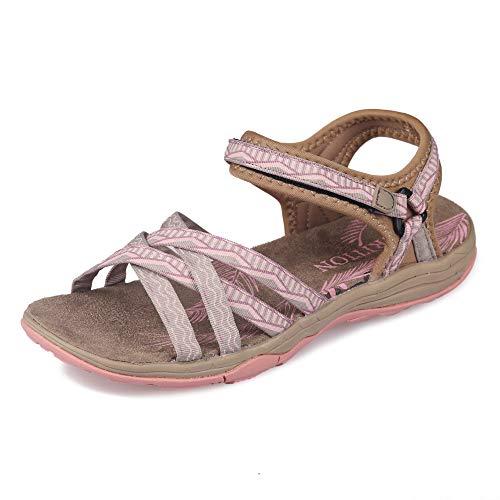 Frauen Wandern Sandalen, GRITION Damen Outdoor Sport Wasser Schuhe Sommer Flach Cross-Tied Beach Sandalen Open Toe Verstellbare klettverschluss Walking Schuhe Schwarz (EU 40, Beige/Pink)
