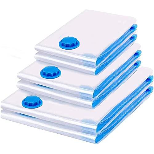 GoFun Juego de 6 bolsas de vacío reutilizables para climatización, bolsas de vacío, adecuadas para aspiradoras de ropa, bolsas de almacenamiento, bolsas de vacío para ropa