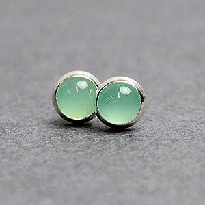Chrysoprase Stud Earrings, Small 4mm Green Gemstone, Sterling Silver