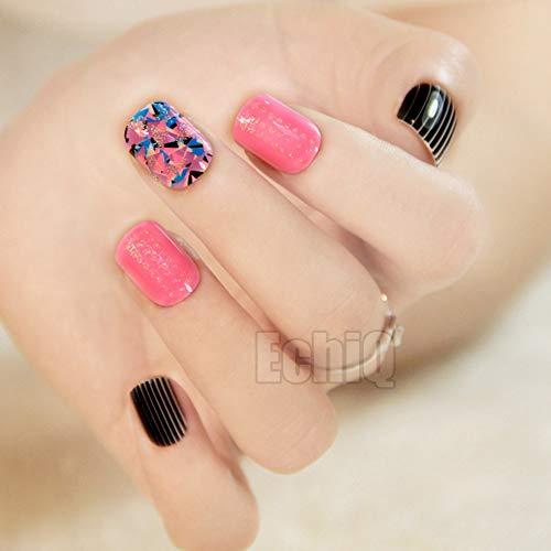 24 Stiletto - Uñas postizas de acrílico con purpurina francesa, color negro y rosa