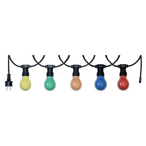 10m Illu Leitung Lichterkette für innen u. außen inkl. 10 Glühbirnen E27 25W bunt