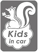 imoninn KIDS in car ステッカー 【マグネットタイプ】 No.36 リスさん (シルバーメタリック)