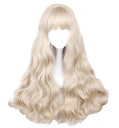 aiyaya Long Curly Wig - Natural Synthetic Hair Lolita Wigs with Wig Cap For Cosplay and Daily Wear (Light Blonde)
