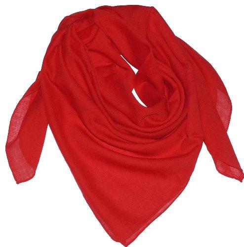 Harrys-Collection Damen Herren Baumwolltuch in vielen Farben 100 x 100 cm, Farben:rot, Größen:Einheitsgröße
