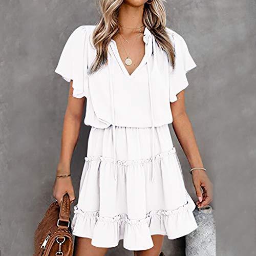 Sommerkleid für Damen, Mode-Minikleid mit V-Ausschnitt, kurzärmliges Plissee-Minirockkleid, Damen Sexy Elegant Kleid Y2K Dress Abendkleid Ballkleid Cocktailkleid Partykleid Blusenkleider