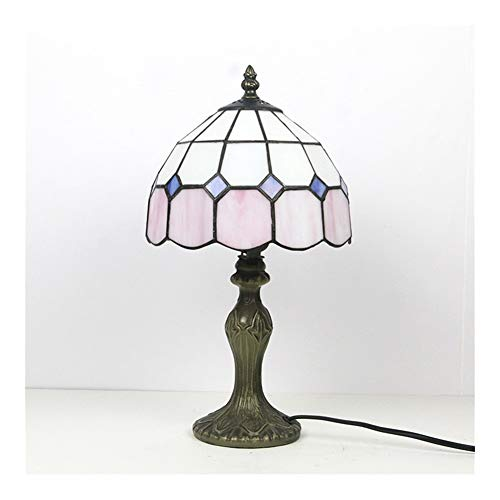 Retro mini tabla enciende estilo Tiffany antiguo escritorio de la tabla 1-Luz del accesorio de iluminación de 8 pulgadas de sombra multicolor Glass