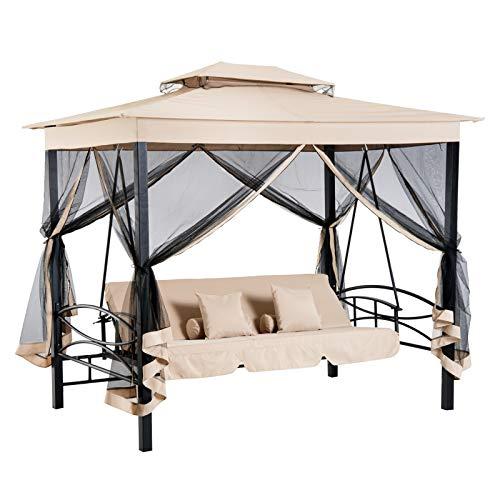 Outsunny Hollywoodschaukel Gartenschaukel Schaukel mit Seitenwänden 3-Sitzer Beige+Schwarz 256 x 172 x 248 cm
