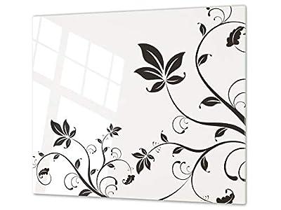 Cubre vitros de cristal templado - Tabla para cortar de cristal – Tabla para amasar y protector de vitro – UNA PIEZA (60 x 52 cm) o DOS PIEZAS (30 x 52 cm); D06 Serie Flores: Flor 5