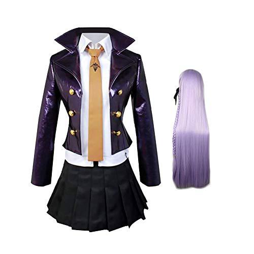 Danganronpa Kyoko Kirigiri Cosplay Kostüm Kirigiri Kyōko Halloween Karneval Mantel Shirt Rock mit optionaler Perücke High School Uniform Rock Kleid Outfit