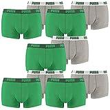 PUMA Herren Basic Trunk Boxershort Unterhose 10er Pack amazon green 075 - XL