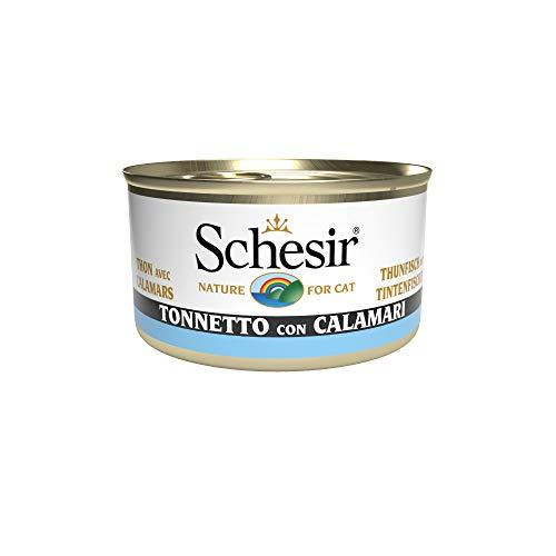 Schesir Cat Jelly Thunfisch mit Tintenfisch, Katzenfutter nass in Gelee, 24 Dosen x 85 g