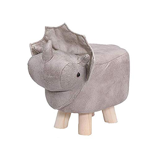 ZXLLAFT Animal Ottomans Footrest Stool Wooden Upholstered Pouf Solid Wood Support Stool Creative and Cute Footrest, Load 100kg,C