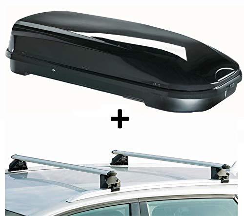 Dachbox VDPFL580 580Ltr schwarz glänzend + Dachträger CRV107A kompatibel mit Hyundai Santa Fe (5 Türer) ab 2013