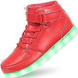 APTESOL Niños Juventud LED Light up Trainers Niños Niñas High Top Cool Intermitente Zapatos Unisex Zapatillas [Rojo, EU31]