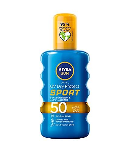NIVEA SUN UV Dry Protect Transparentes Sonnenspray LSF 50 (200 ml), erfrischender Sonnenschutz zum Sprühen ohne Kleben und Fetten, Sonnenspray mit LSF 50