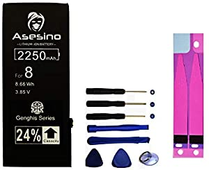 Asesino Battery Compatible with iPhone 8 [2250mAh] (24% Higher Capacity) with Replacement Toolkit and Adhesive Models A1863, A1905, A1906 (24-Month Warranty)