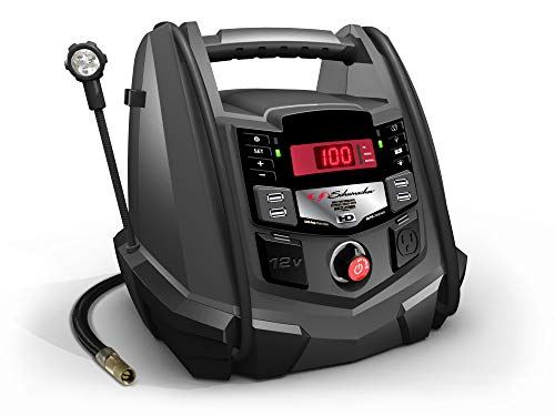 Schumacher Rechargeable AGM Jump Starter and Portable USB/DC Power Station - 1200 Amp - with Air Compressor and LED flex light