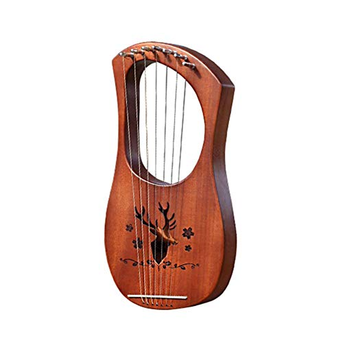 Lyre Harp Lira Arpa 7 snareninstrumenten, mahonie/bamboe/acacia, kleine leerqin Liqin, gegraveerd, Keltisch arpa, Griekse muziekinstrumenten Koffie