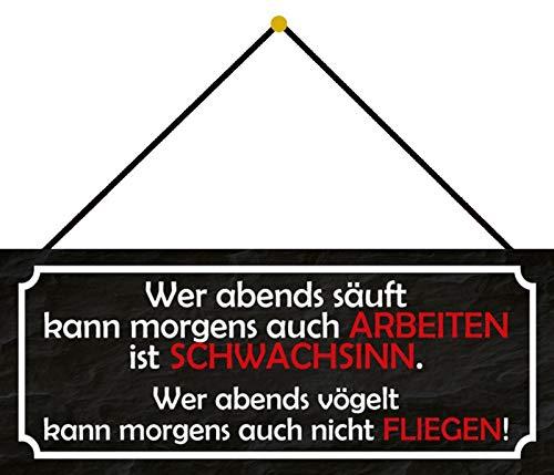 FS werken zwak in vliegen blikken bord gewelfd Metal Sign 10 x 27 cm met koord