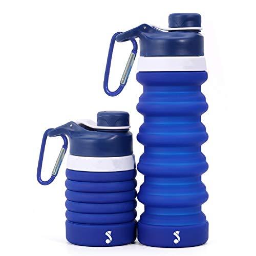 YINGGG Tragbare Faltbare Trinkflasche Wasserflasche - Auslaufsicherer Drehverschluss Lebensmittelqualität, BPA-freies Silikon, Teleskop-Sportflasche, 550ml (Dunkelblau)