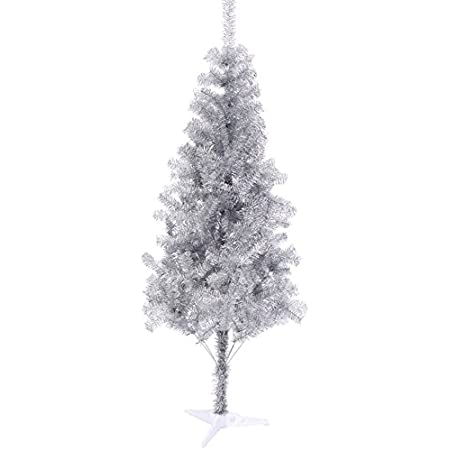 Amazon Com Best Choice Products 6ft Artificial Silver Tinsel Christmas Tree Holiday Decoration W 1 477 Branch Tips And Foldable Stand Home Kitchen