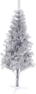 Hb 6' Ft Sparking Gorgeous Folding Artificial Tinsel Christmas Tree Silver Color 450 Tips