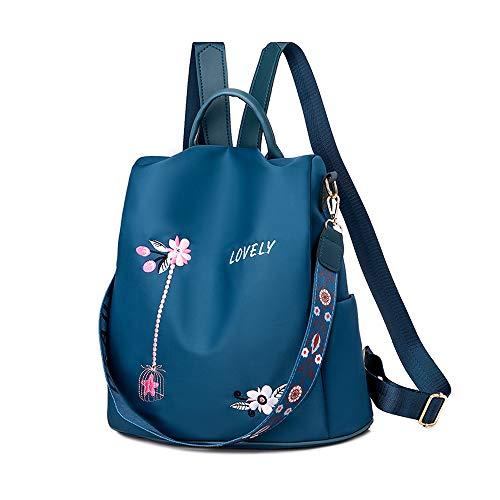 Diebstahlschutz Damen Rucksack | Wasserdichter Rucksack für Damen aus Oxford | Leichte Stilvolle Schultaschen für den Täglichen Gebrauch Ausgehen Reisen Arbeiten (Blume Blau)