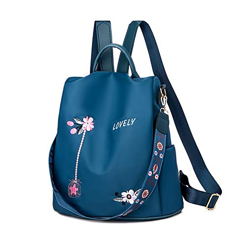 Anti Theft Women Backpack | Waterproof Oxford Ladies Back Pack Rucksack | Lightweight Stylish School Bags for Everyday Use Going Out Traveling Working (Flower Blue)