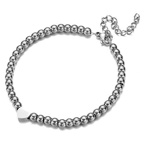 Armband Schmuck Elegant Herz Charme Armband Gold Silber Farbe Edelstahl Perlen Kette Liebe Herz Armband für Mädchen Frauen Charme Schmuck, Farbe: silberfarben.