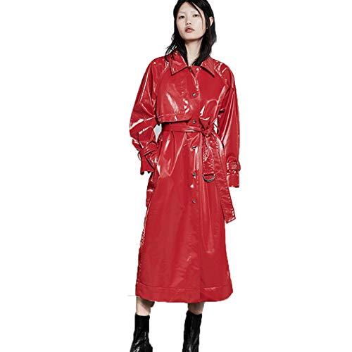 Impermeabile Cappotti Trench Coat Collo con Risvolto Largo da Donna Giacca a Vento Lunga Neutra Giacca in Pelle di PVC Lucido Cintura Staccabile (Color : Red, Size : S/160)