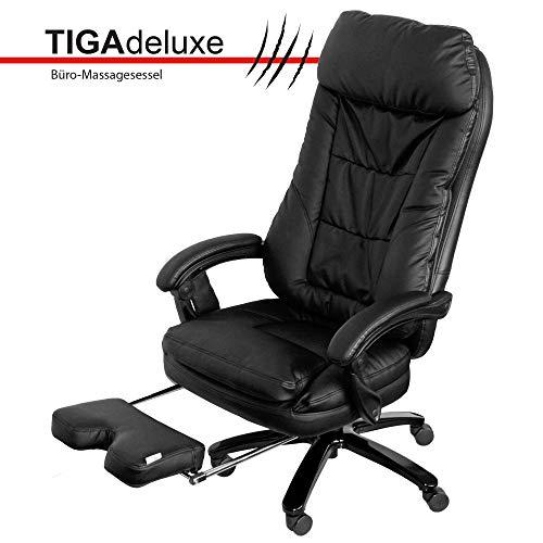 @tec Tiga Deluxe Bürostuhl mit Massagefunktion, Shiatsu Chefsessel, Relax Bürosessel mit kräftigen Massage, Knet- & Rollenmassage mit 4 rotierenden Massageköpfen, Drehstuhl-Kunstleder schwarz