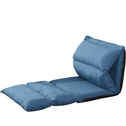 LJFYXZ Canapé Paresseux Chaise Petit canapé Réglage à 5 Vitesses Pliable Facile à enlever et à Laver Confortable et Respirant Chambre dortoir Fauteuil (Couleur : Bleu)