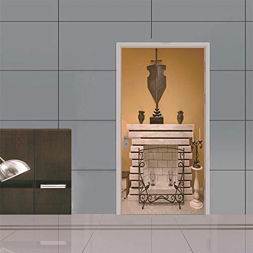 Door Sticker Adesivo Per Porte Di Natale Con Camino 3D Adesivo Per Porte In Legno Decorazioni Per La Casa Adesivo Impermeabile Da Parete