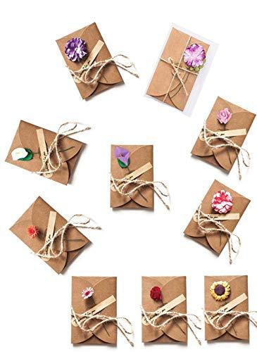 Sobres Tarjeta de Felicitación Kraft Marrones Vintage con Flores Secas para cumpleaños, boda, fiesta, invitación, 10 flores y pegatinas hechas a mano