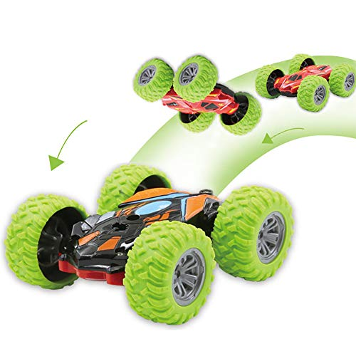 ZMZS RC Car Mini Remote Control Car for Kids, Double Sided Stunt Car Mini Remote Control Toys for Boys and Girls, Fast Off Road 2.4 GHz Cars Toys (Green)