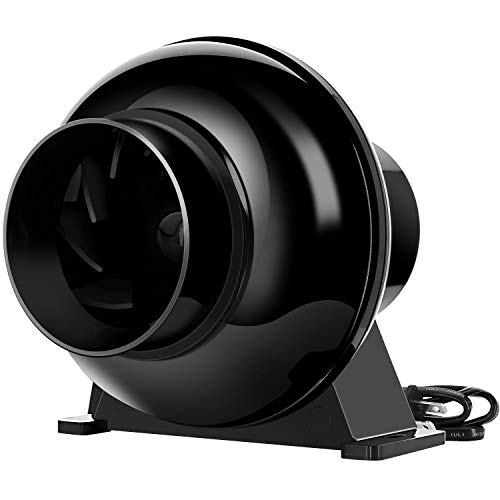 iPower 4 Inch 195 CFM Duct Inline Ventilation Fan Air Circulation Vent Blower for Grow Tent, Greenhouses, Basements or Kitchens, Lite, Black