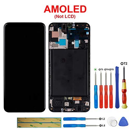 Swark Super AMOLED-scherm compatibel met Samsung Galaxy A50 SM-A505F/DS, SM-A505FN/DS (zwart met frame) LCD-scherm touchscreen beeldscherm digitizer Assembly glas + tools