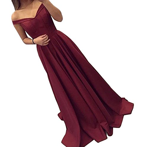 Dressylady 2017 Burgundy Off-Shoulder A Line Long Prom Homecoming Dress Evening Gowns(12)