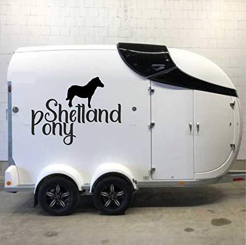 Pegatina Promotion Pferde Silhouette Typ1 ca 70cm mit Schriftzug Shetland Pony reiten Reitsport Aufkleber Sticker Profi Qualität