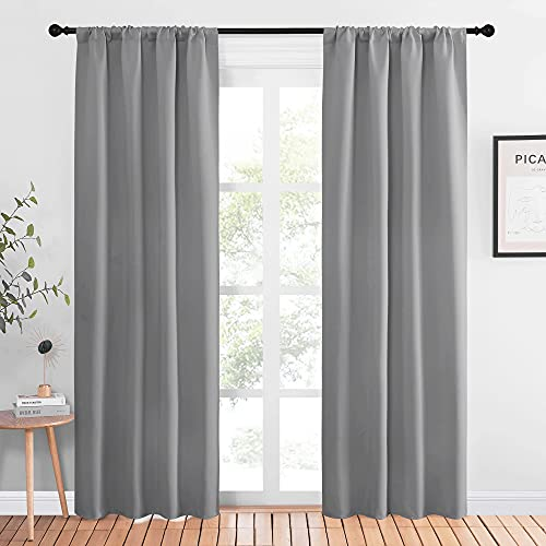 NICETOWN Blackout Curtains 84 for Office - 3 Pass Microfiber Noise Reducing Thermal Insulated Solid Rod Pocket Blackout Window Panels/Drapes (2 Panels, 42 x 84 Inch, Silver Grey)